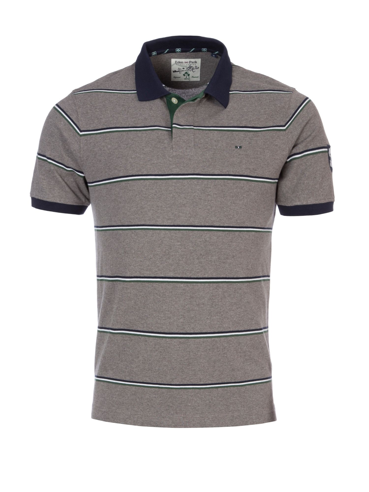 Men's Eden Park Striped Polo Shirt With Logo Embroidery, Grey Review thumbnail