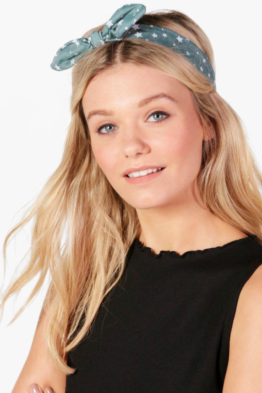 Star Print Bow Tie Headband - green Review thumbnail