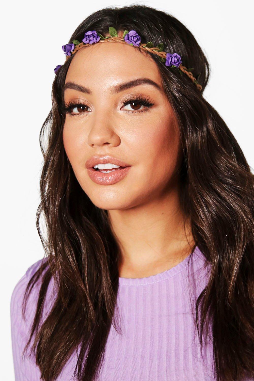 Plaited Floral Headband - purple Review thumbnail