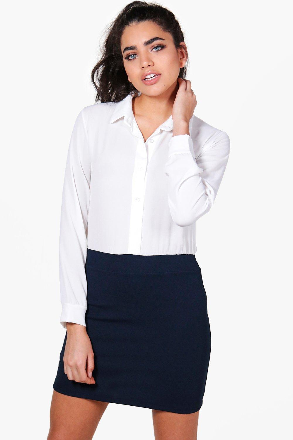 2 in 1 Contrast Shirt Dress - navy Review thumbnail