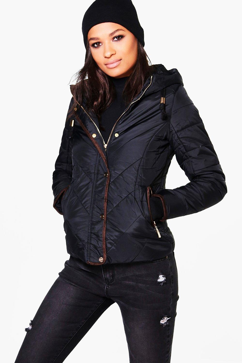 Padded Hooded Jacket With Faux Fur Lining - black Review thumbnail