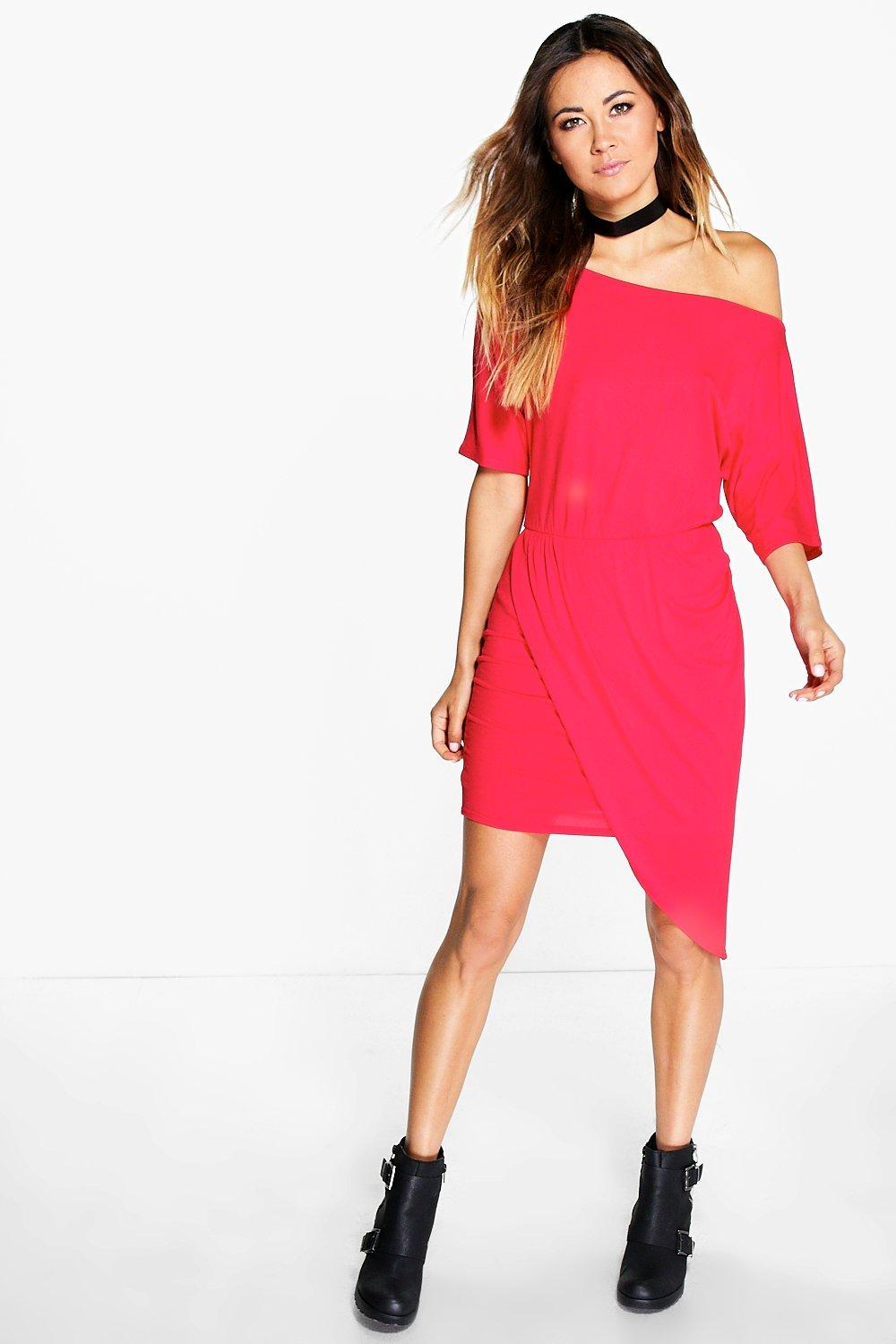 Off Shoulder Rouched Wrap Dress - poppy Review thumbnail