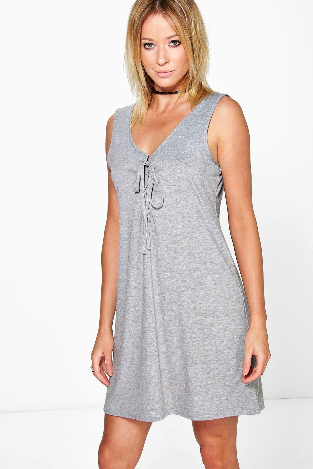 Lace Up Sleeveless Bodycon Dress - grey Review thumbnail