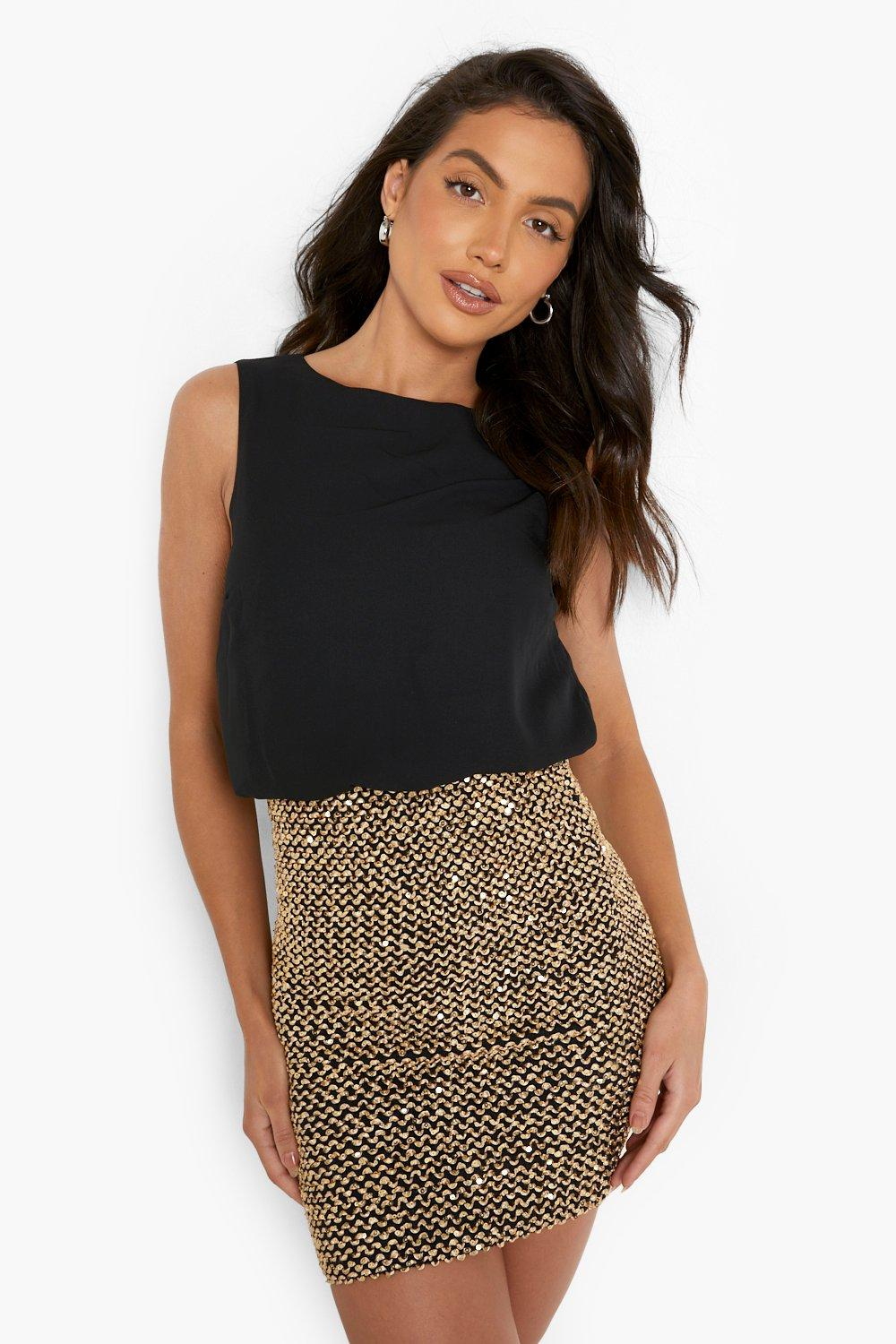 2 in 1 Chiffon Top Sequin Skirt Bodycon Dress - black Review thumbnail