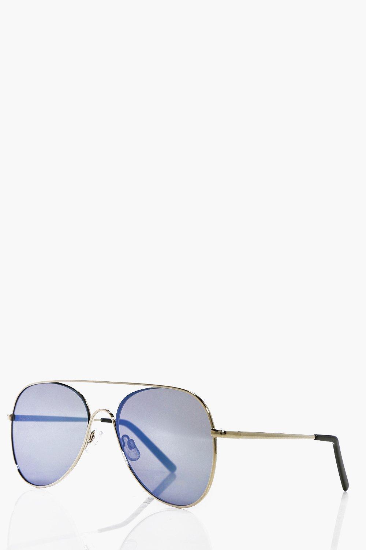 Mirrored Lens Aviator Sunglasses - gold Review thumbnail
